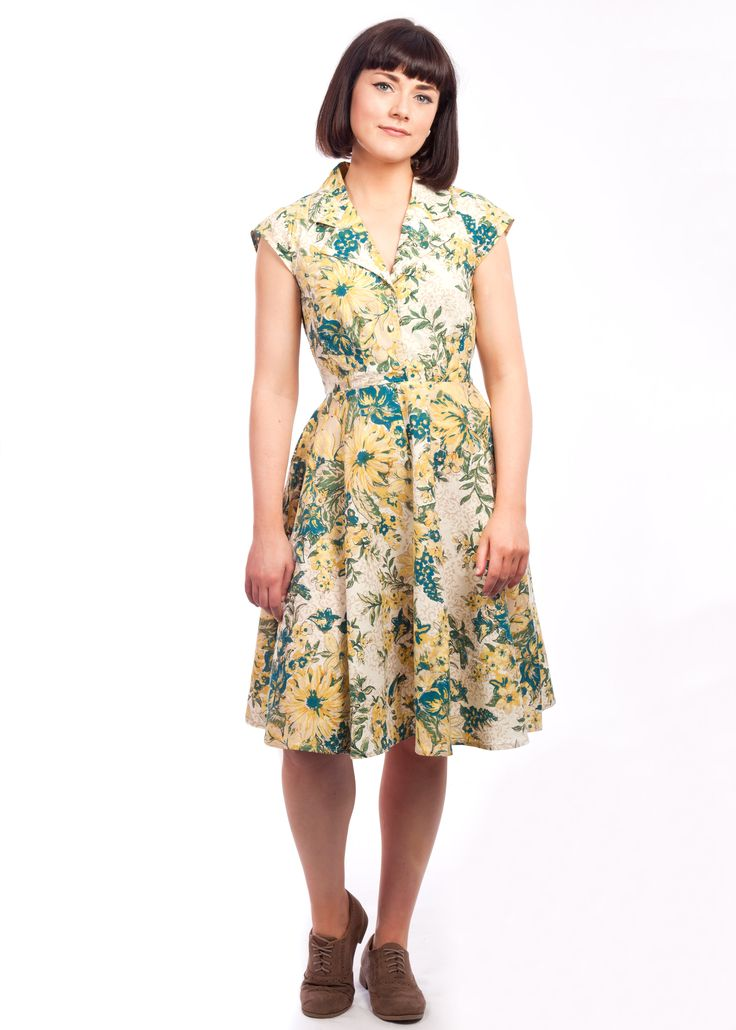 The floral Ava dress from Circus at Carousel #floral #yellow #1940s #vintage #style #shirtdress