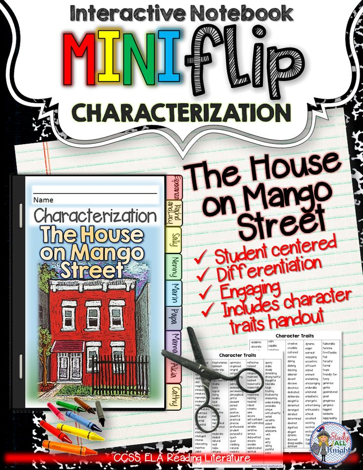 The House on Mango Street : Interactive Notebook Characterization Mini Flip ($)