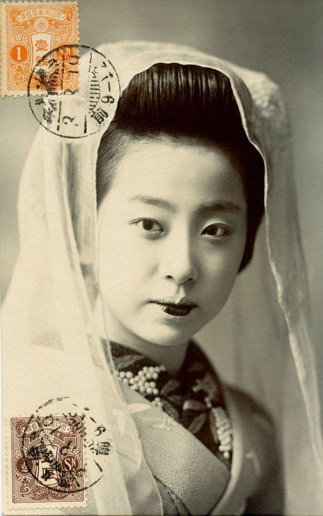 Kyo-Maiko wearing a Tenugui, 1914 postcard