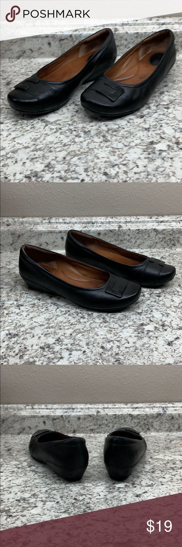 NWOT Black Leather Flats   Black leather flats, Leather
