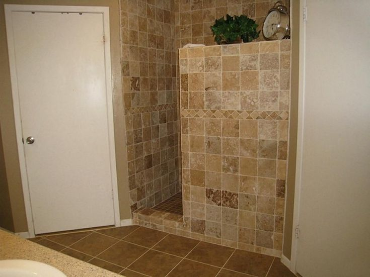 Doorless showers design inspirations with doorless walk in for Master bathroom no door