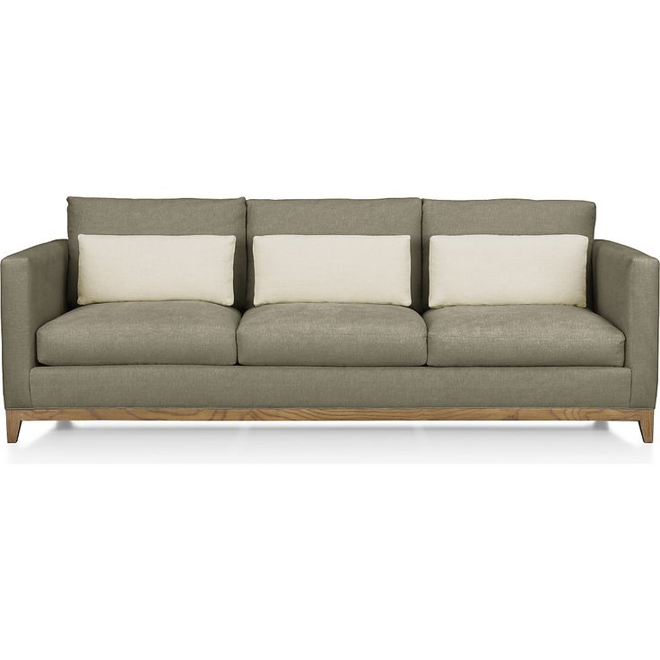 Taraval 3-Seat Sofa with Oak Base Tote: Putty | Crate and Barrel