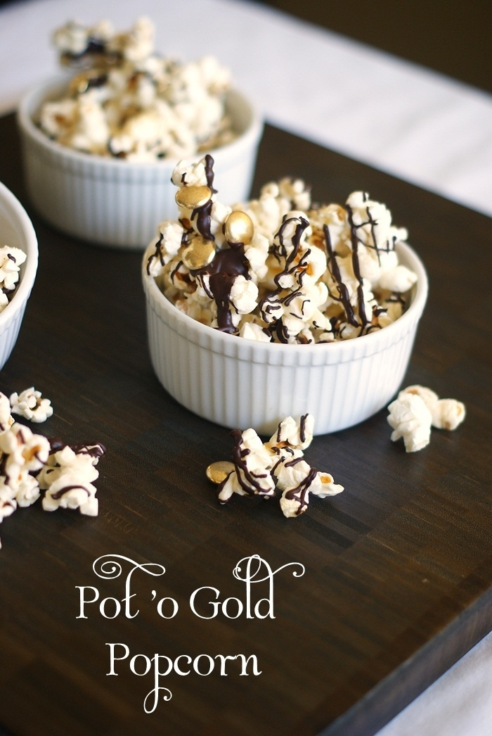 Pot 'o Gold Popcorn with little gold M's mixed into it.  Cute!