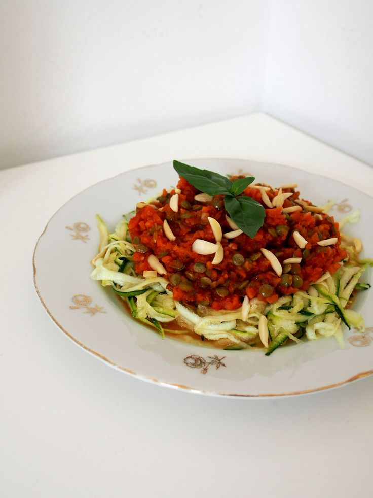 Vegan bolognese with zucchini noodles. no dairy, no gluten