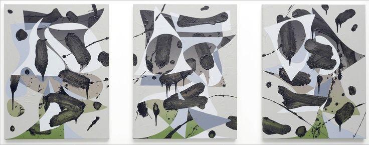 Luke Rudolf, Triptych 1, 2012, acrylic on canvas.