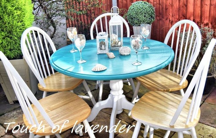 Stunning Shabby Chic Chunky Farmhouse Dining Table And 5 oder 6 Chairs Wood