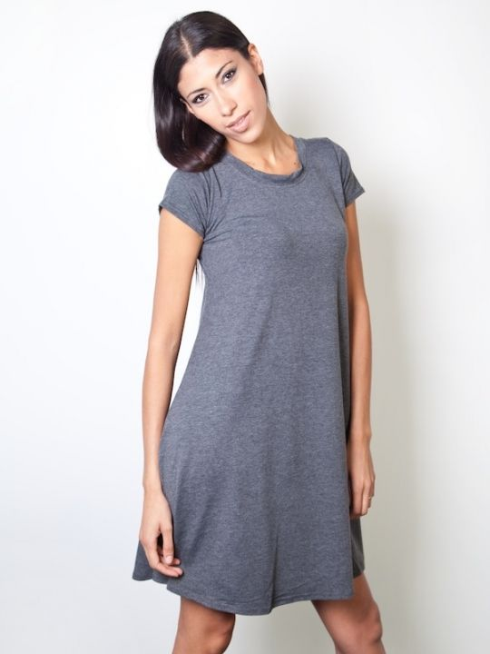 Basic jersey Plain Jane T-shirt dress by L.O.S. Contemporary in marl grey  5a765603094b