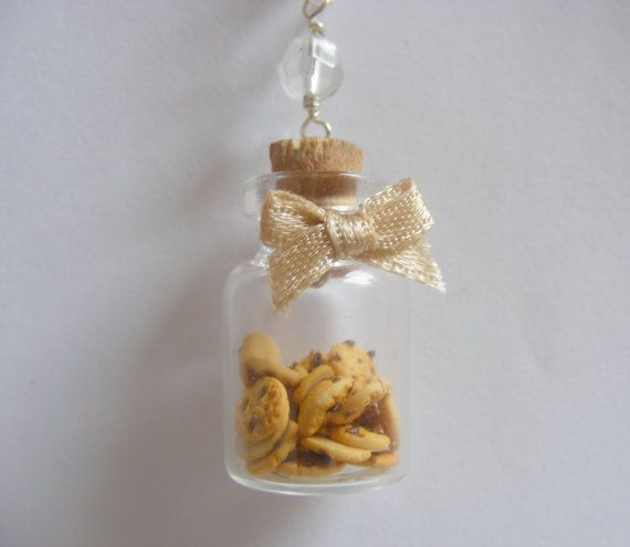 Cookie Jar Bottle Necklace Pendant  - Miniature Food Jewelry via Etsy