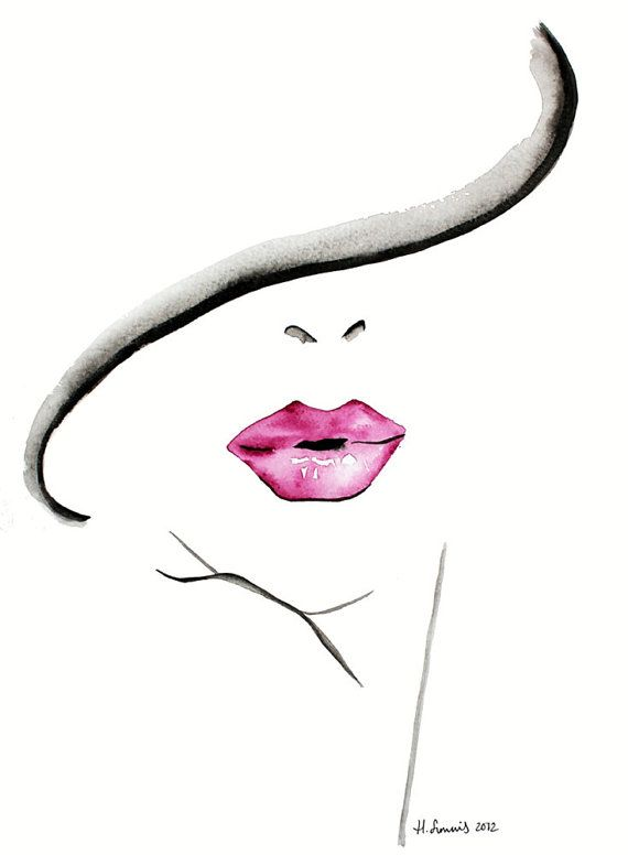 Fashion Illustration print by Helen Simms titled The Lipstick Conundrum, from simple watercolour, stylish, unique gift for her via Etsy