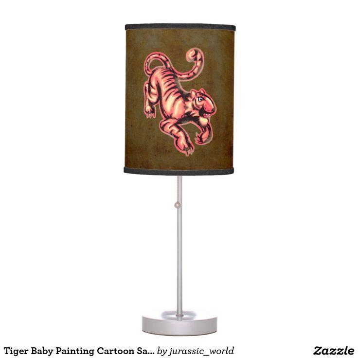 Tiger Baby Painting Cartoon Salmon Brown Desk Lamp