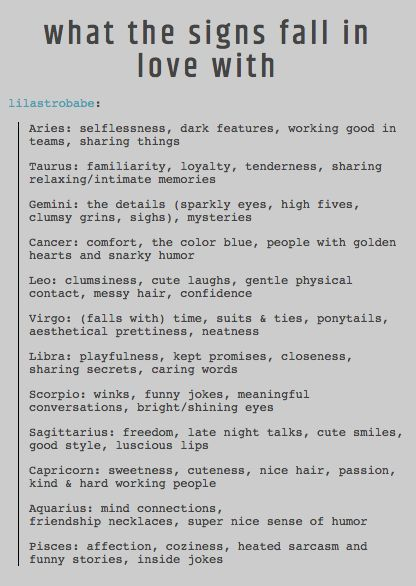 Photo: What the Signs Fall in Love with  Source: cool astrology tumblr  The Enchanted Angel ☆