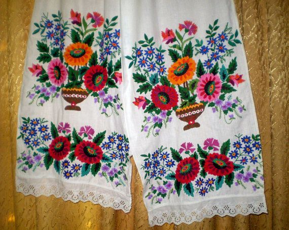 Vintage Embroidered Towel Ukrainian Rushnyk Handmade