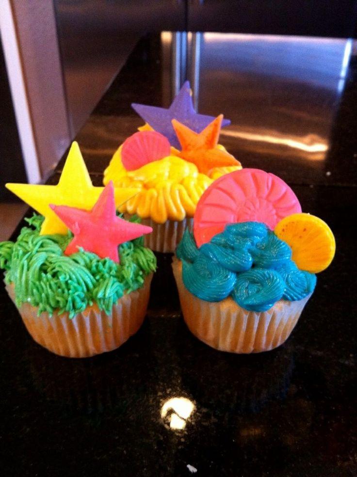 Beach Themed Birthday Cupcakes