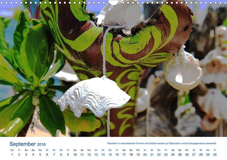 """Reisekalender """"Südsee-Insel Mo'orea – Geschenk der Götter"""", Kalenderblatt September: Dekoration aus Muscheln"""