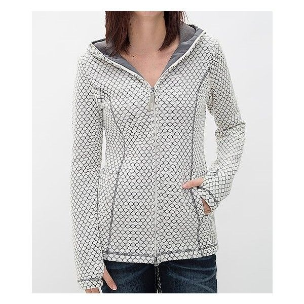 Bench Little Jacque Hooded Jacket ($109) ❤ liked on Polyvore featuring tops, hoodies, cream, bench top, fleece lined hoodies, bench hoodies, white zip up hoodies and zip up hoodies