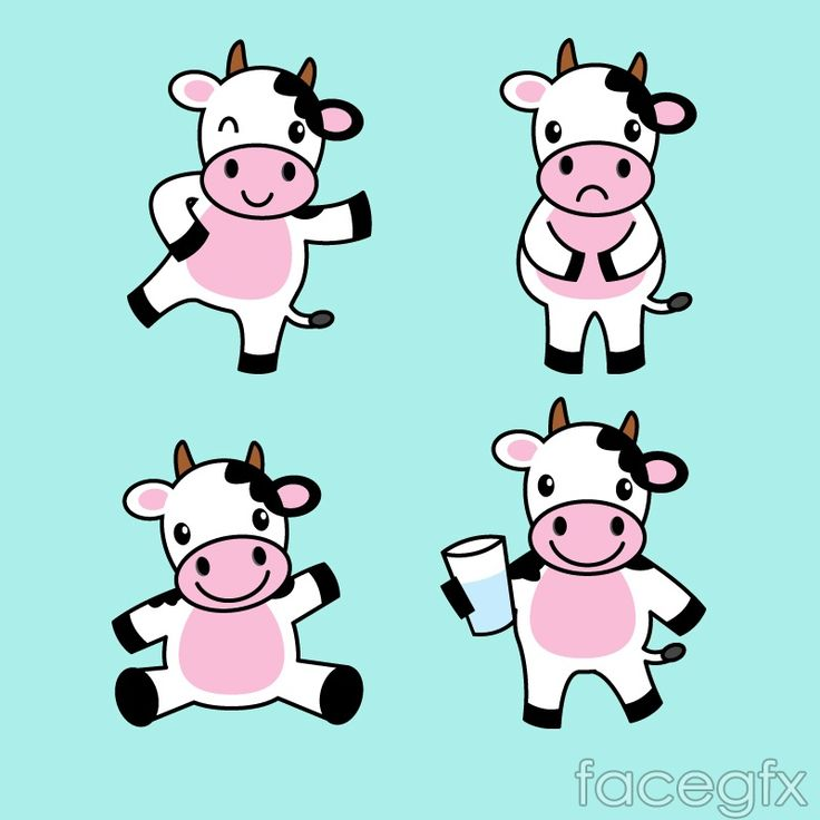 4 cow cartoon vector