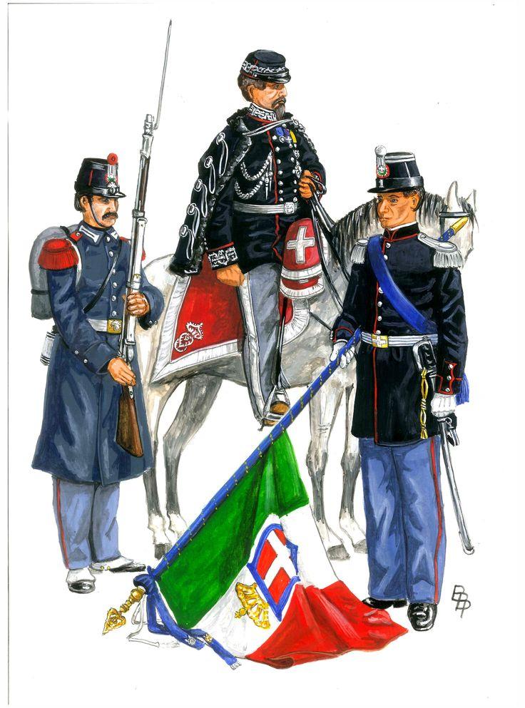 Regio Esercito 1866.A sinistra un Granatiere di Sardegna, al centro un Generaler, a destra un Alfiere di Fanteria con stendardo. By Bruce Bassett-Powell