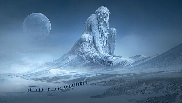 By Stefan Keller . #art #arts #surreal #surrealism #fantasy #myth #mythic #modernart #contemporaryart #mountains #mountain #oldman #snow #ski #trek #travel #landscape #moon #ice #icy #cold #winter #mystical #beard #beast #monster