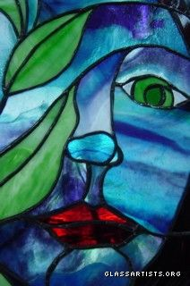 woman blue face Stained Glass Window Detail   $800