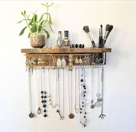 Jewelry Organizer With Shelf, Necklace Holder, Bracelet/Earring Bar and Mason Jar