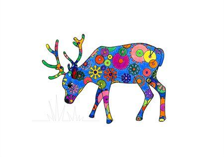 Hand Drawn Deer Print A4
