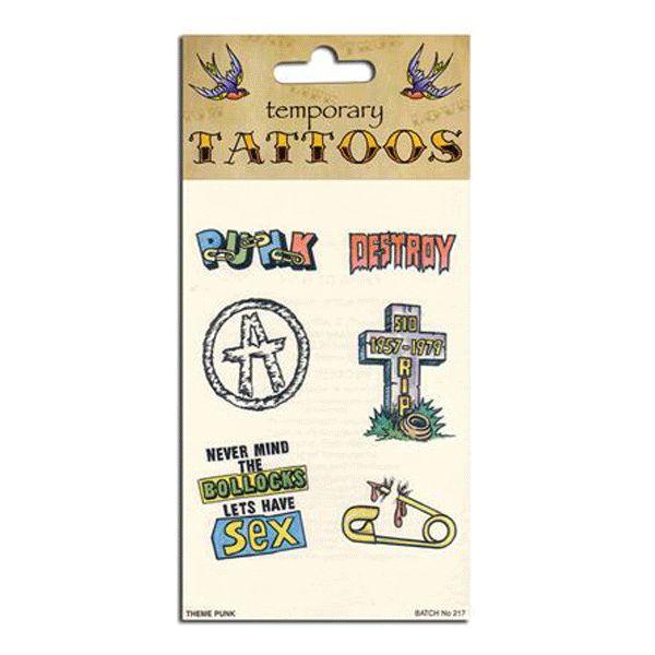 Punk tattoos. Set van zes verschillende punk tatoeages van onder andere het anarchie teken, een grafzerk en het woord punk. Plak het plaatje op uw huid en maak deze nat. Haal de beschermfolie hierna van uw huid af en uw huid is versierd met een echte punk tatoeage.