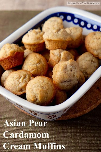 Looking for a quick bread recipe to serve a book group? Cardamom-spiced Asian pear chunks fill this rich-with-cream whole wheat muffin recipe.
