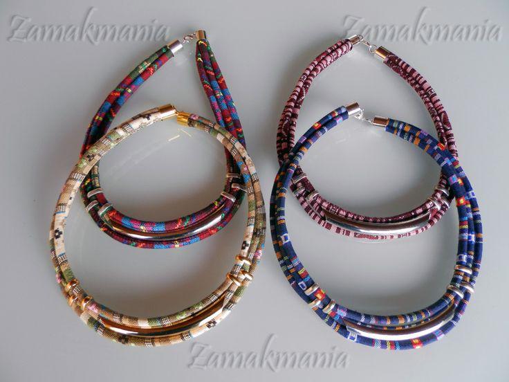 Collares de tela motivos étnicos regalosnavidad complementos bisutería  hecho a mano /