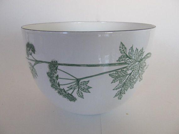 Vintage Enamel Bowl Finel Arabia Chervil Kaj by sourcemodern
