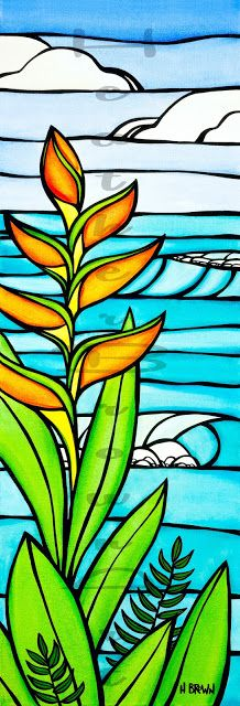 Surf Artist Heather Brown from North Shore Oahu created Heliconia Daydream for her Wyland Gallery Waikiki Show 11.21.15