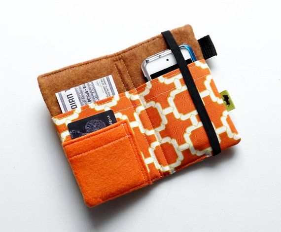 Modern pumpkin spice iphone wallet orange wallet chain design ipod case tech wallet iphone 5 case cell phone wallet woman gift on Etsy, $25.00