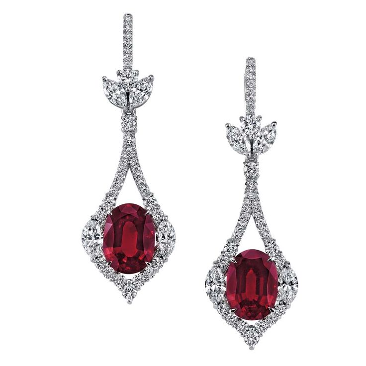Omi Privé ruby and diamond earrings with 8.16ct of unheated oval rubies accented with 1.78ct of marquise-cut diamonds and 1.69ct of brilliant-cut diamonds set in platinum (US$750,000).