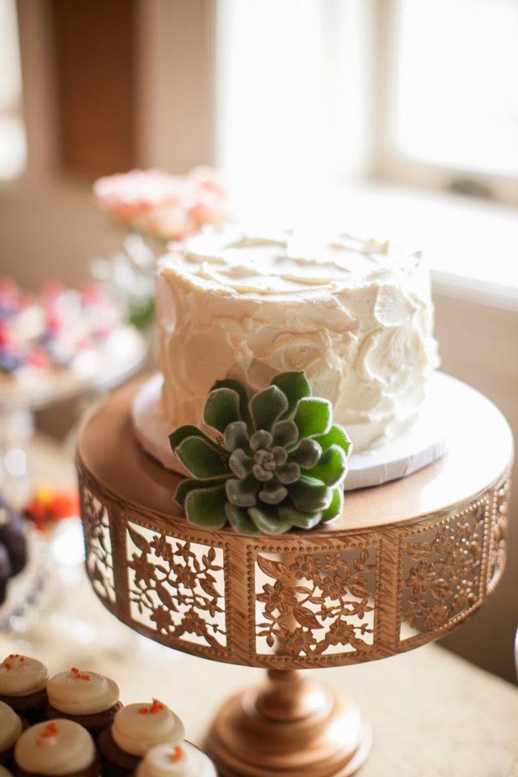 Wedding Cake - Rustic, Succulent, Simple