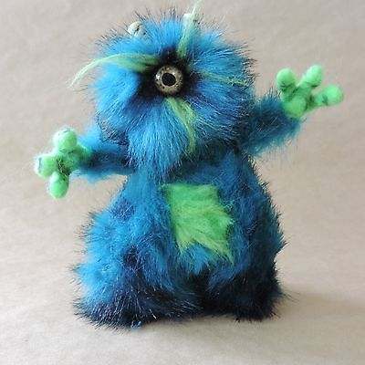 One eyed furry Pose able art doll monster plush teddy toy with Glow in the dark by NomesB Cre8tions.