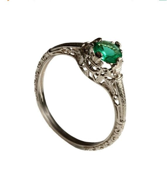 14K Vintage solitaire Emerald Engagement ring 18k white gold natural Emerald alternative engagement ring, promise ring, May birthstone ring by DINARjewelry on Etsy https://www.etsy.com/listing/259094064/14k-vintage-solitaire-emerald-engagement