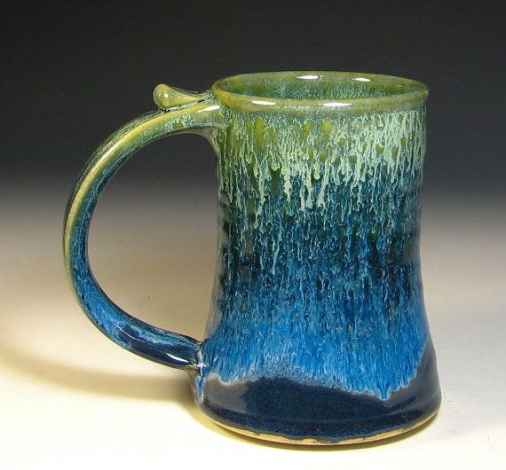 Stoneware tankard glazed in sapphire blue and by hughespottery