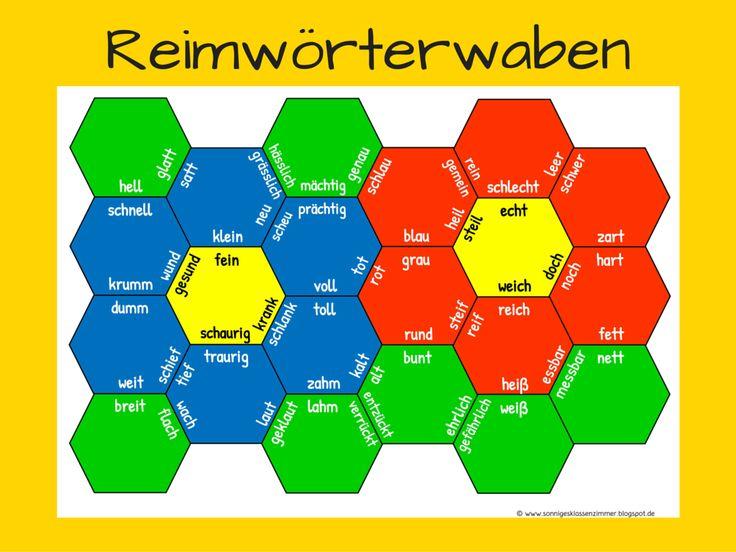 Reimwaben Nomen und Adjektive zum Üben von Reimwörtern in Klasse 1 und 2