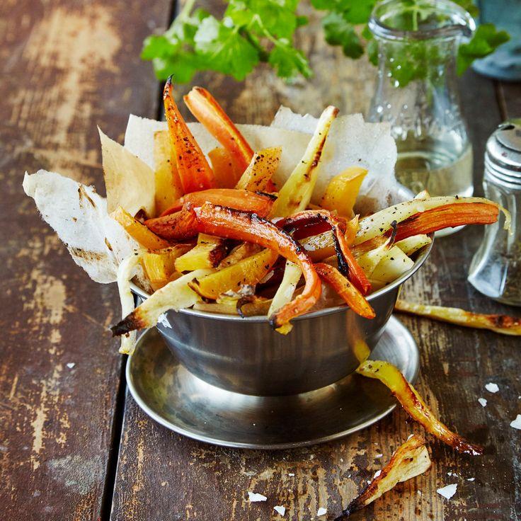 Juuresranskalaiset paahtuvat maukkaiksi uunissa. Tarjoa uunijuuresten tapaan lisäkkeenä tai sellaisenaan dipin kanssa.