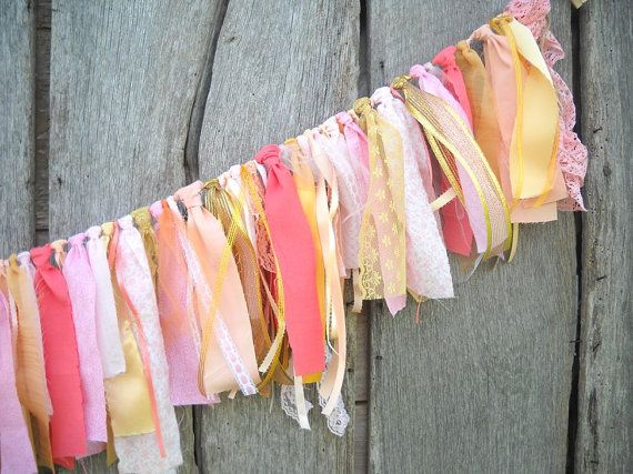 Custom Wedding Garland, Rustic Fabric Wedding Banner, Wedding Backdrop, Party Photo Prop, Birthday Party Decoration,Rag Tie,Graduation Decor...