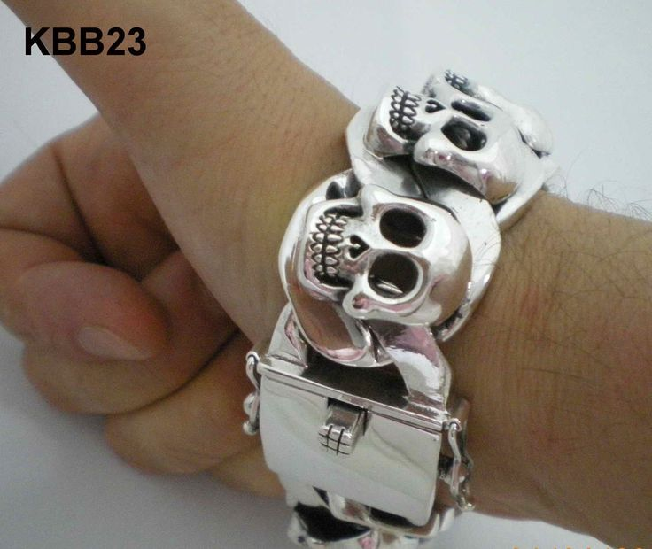 Chunky Biker Skull Bracelet - Super Thick & Heavy Weight Design for Men. High End Skull Jewelry for Men from SilverWow!