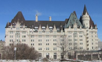 Chateau Laurier, Ottawa, Canada. Built by Charles Melville Hayes in 1909-1912. Named for Cdn. Prime Minister Sir Wilfrid Laurier. Chateau Laurier was scheduled to be opened April 26, 1912 but Charles Melville Hays booked passage to Canada for the grand opening aboard the Titanic & perished when the ship went down in the North Atlantic, April 15, 1912.    Today Chateau Laurier is owned by the Fairmont Hotels and Resorts chain and is said to be haunted by the ghost of Charles Melville Hays.