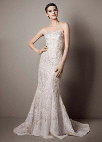 Strapless Trumpet Sequin Wedding Dress With Gold Lace By Galina Signature At David S Bridal