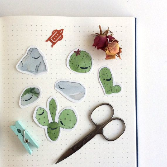 6 cute cactus and rock stickers set handmade sticker pack planner bullet journal