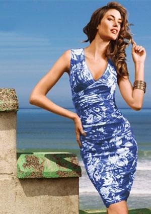 Joseph Ribkoff Floral Sheath Dress - BLUE / WHITE