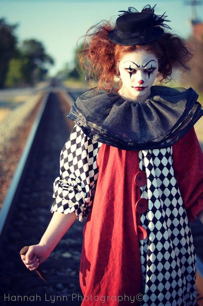 Maquillage clown nez rouge, humour noir womenscostumes