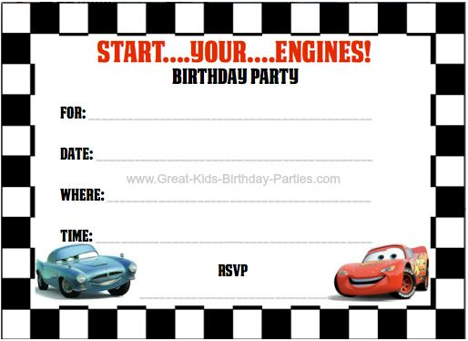 Cars Invitation Card Template Free: 10+ Images About Party Invites On Pinterest