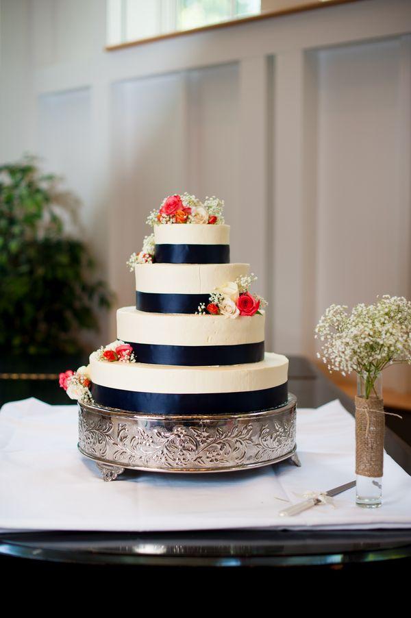 navy blue & coral wedding cake from Thea & Aaron's DIY, Creative Northern Virginia wedding