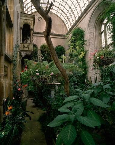 Here is the inside of Flintham Hall's conservatory, note the Juliet Balcony going to the second floor library!