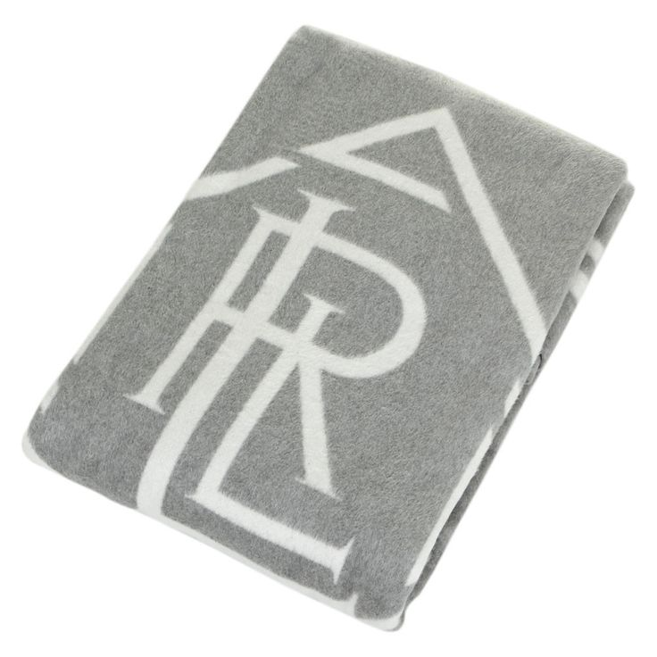 Discover the Ralph Lauren Home Monogram Grey/Cream Throw - 137 x 183cm at Amara