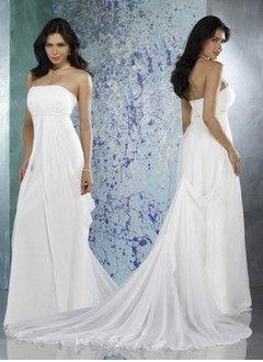 Sheath/Column Strapless Court Train Chiffon Charmeuse Wedding Dress